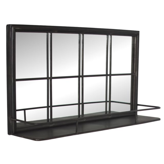 L'ORIGINALE Deco Miroir Industriel Long Etagère Style Fenêtre avec Tablette 80x40x15,50 cm