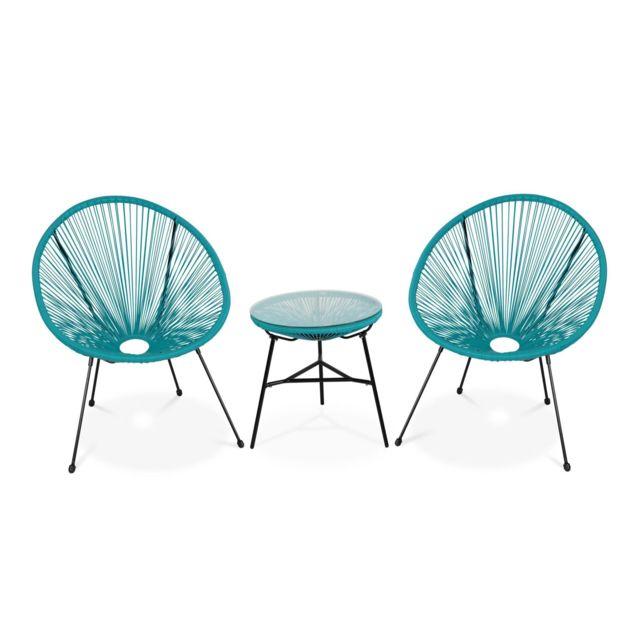 ALICE'S GARDEN Lot de 2 fauteuils ACAPULCO forme d'oeuf