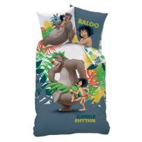 Disney - Parure housse de couette 140x200cm + taie 100% coton Baloo Mowgli Le Livre De La Jungle