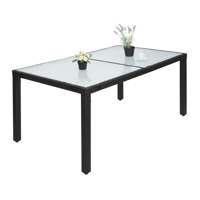 Mendler Table en polyrotin Hwc-f49, table de jardin, salle à manger, 150x90cm ~ anthracite