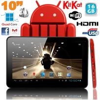 Yonis - Tablette tactile 10 pouces Android 4.4 KitKat Quad Core 16 Go Rouge
