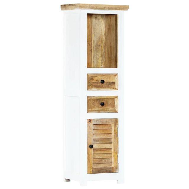 Stylé Armoires & meubles de rangement ligne Honiara Buffet Blanc et marron 40x30x128cm Bois de manguier solide brut