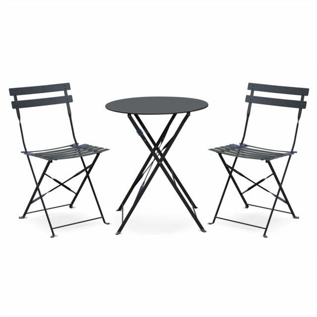 Salon de jardin bistrot pliable - Emilia rond gris anthracite - Table Ø60cm  avec deux chaises pliantes, acier thermolaqué