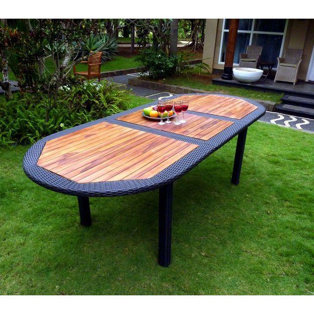 Table de jardin en teck et résine tressée - rallonge - 180-240 cm