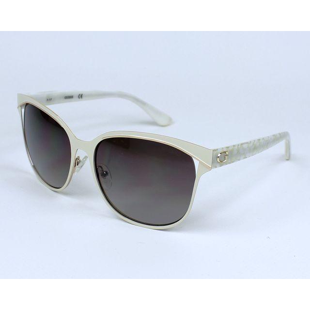 4c921411999680 Guess - Gu-7486-S 21G Blanc marbré - Blanc mat - Lunettes de soleil ...
