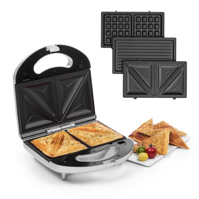 KLARSTEIN Trilit Presse à sandwich 3-en-1 750W - Grill de contact 3 plaques - Témoin LED - Revêtement anti-adhésif - Argent