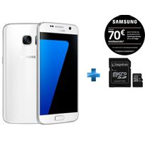Galaxy S7 Blanc SGH-GALAXY-S7-BLANC + KINGSTON 32GB microSDHC Class 10 UHS-I 45MB/s Read Card + SD Adapter SDC10G2/32GB