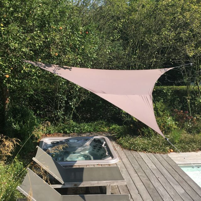 Alice'S Garden Voile d'ombrage triangulaire extensible Easywind 5 x 5 x 5m - Gris - Anti Uv Upf 50