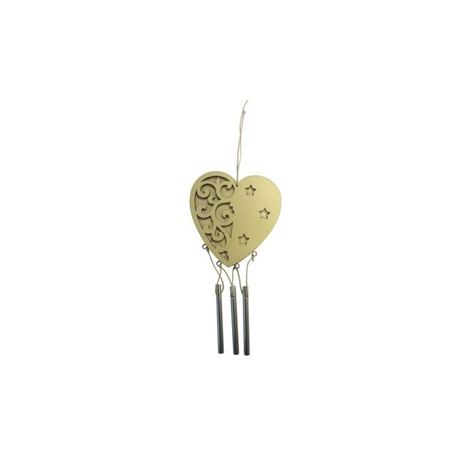Pw International - carillons en bois, forme : coeur. suspension à décorer - lot de 5