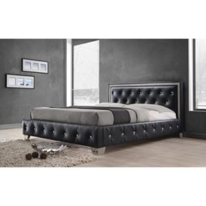 Princess lit adulte 160x200 sommier inclus noir et strass for Lit princesse adulte