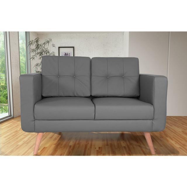 Rocambolesk Canapé fixe Hedvig 2 Pu Soft 29 Gris sofa divan