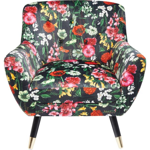 Karedesign Fauteuil Olga noir fleurs Kare Design