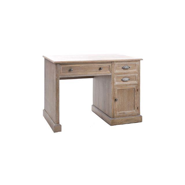 Bureau 3 tiroirs 1 porte en bois massif