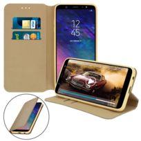 Avizar - Etui Samsung Galaxy A6 Plus Housse folio Porte-carte Fonction Support - Dorée