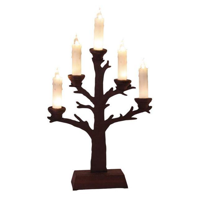 Xmas Living Glass Tree - Chandelier Sapin de Noël Bois foncé 5 bougies Led H44cm - Lampe à poser designé par