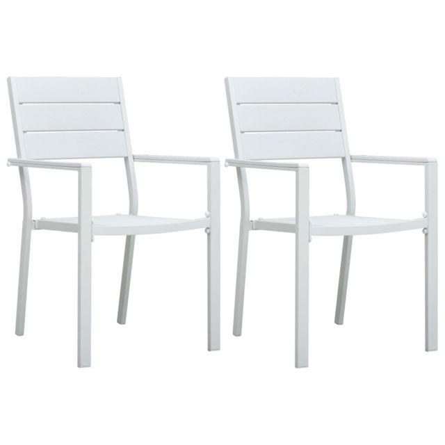 Vidaxl Chaises de jardin 2 pcs Blanc Pehd Aspect de bois