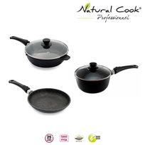 Natural Cook Professionnel - Poêle Sauteuse 28 cm casserole 20 cm en pierre granité et céramique tous feux