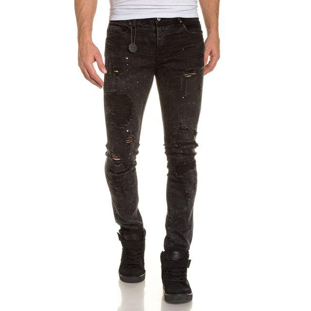 cher pas Achat Jeans Project déchiré noir slim homme street X P4xqZ8B