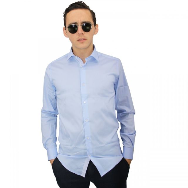 Meadrine chemise homme Bleu-ciel et rayée Méadrine