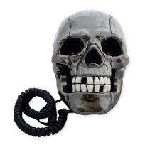Totalcadeau - Téléphone filaire fixe tête de mort lumineuse gris métal