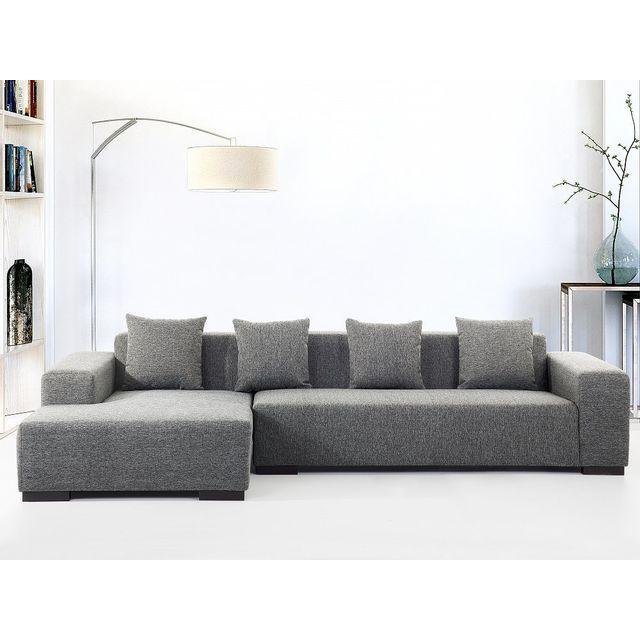 Beliani Canapé d'angle - canapé en tissu gris foncé - Lungo D