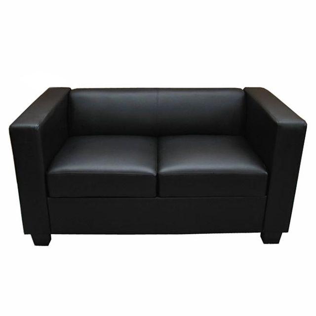 Mendler Canapé / sofa Lille, 2 places, 137x75x70cm, simili-cuir, noir
