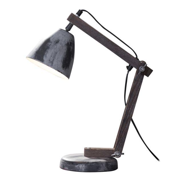 COMFORIUM Lampe de table gris design industriel base en métal piètement en charnière bois massif vintage