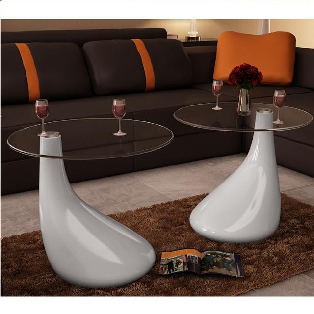Rocambolesk Superbe Lot de 2 tables basses de salon en verre blanche brillante Neuf