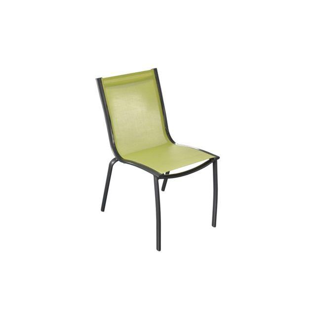 Proloisirs - Chaise Linea en aluminium royal grey et textilène lime ...