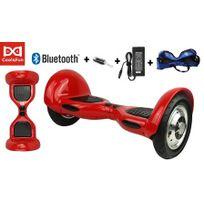 Cool&FUN Hoverboard Bluetooth,Scooter électrique Auto-équilibrage,gyropode connecté 10 pouces Rouge