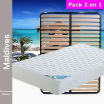 Altobuy - Maldives - Pack Matelas + Lattes 160x200