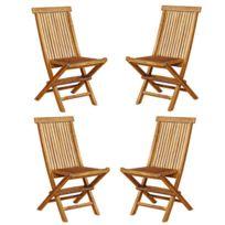 Bois Dessus Bois Dessous - Lot de 4 chaises de jardin pliantes en bois de teck huilé