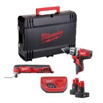 Milwaukee - LOT 12V : Perceuse Visseuse C12PD/0 + Multitool C12MT + 2 Batteries 3Ah - 4933427181