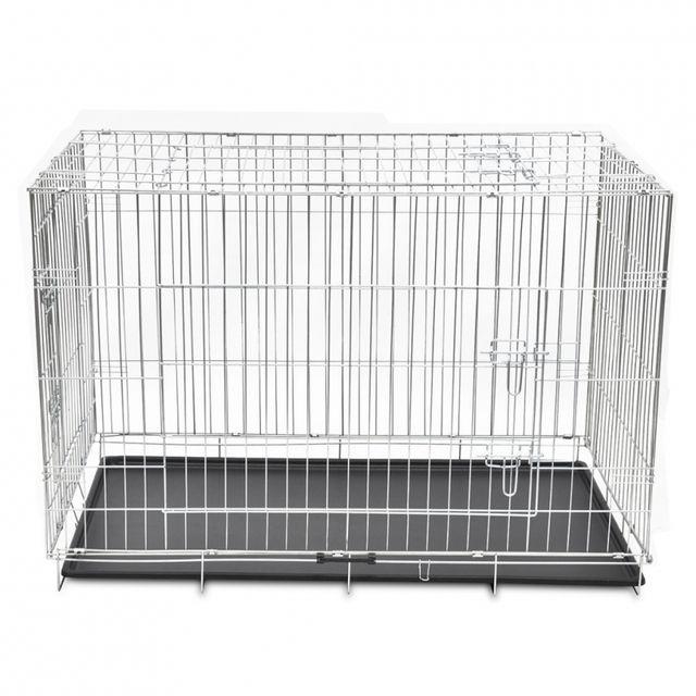 2e52b4a8412fe0 Helloshop26 - Cage en métal pliable pour chien acier galvanisé 121 x 74 x  83 cm