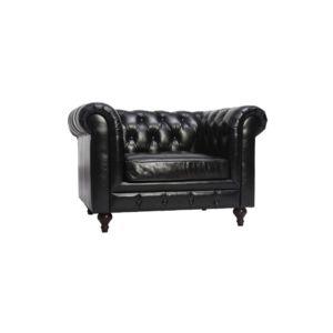 Miliboo Fauteuil design cuir noir Chesterfield pas cher Achat