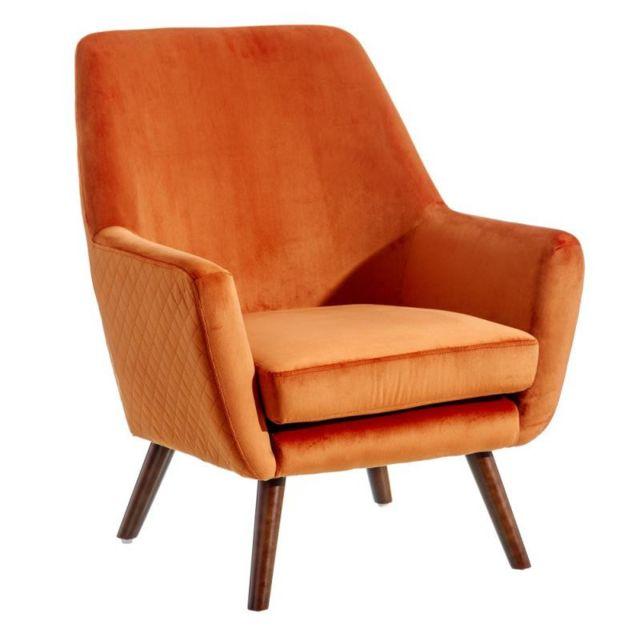 Tousmesmeubles Fauteuil Orange Velours/Bois - Abhoe