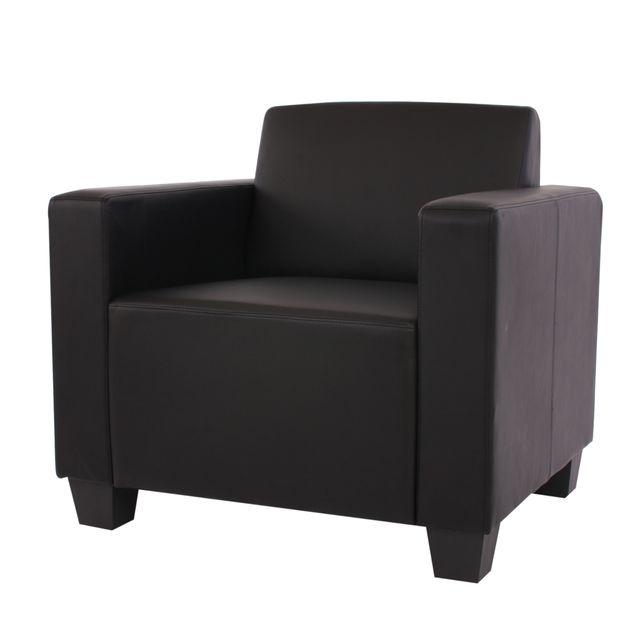 Mendler Fauteuil salon /club / lounge Lyon, simili-cuir, noir
