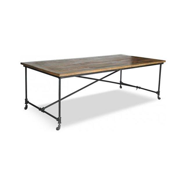 Privatefloor Table à manger vintage bois et acier