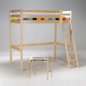 no name lit mezzanine sommier lattes bois sapin altitude 90x190 90cm x 190cm pas cher. Black Bedroom Furniture Sets. Home Design Ideas