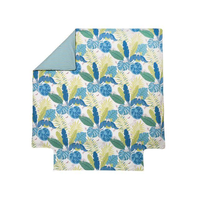 Blanc des Vosges - Housse de couette réversible percale de coton feuille fleur animaux tropical Bali - Canard - 240x220cmNC Bleu - 220cm x 220cm