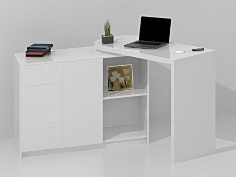 vente unique bureau extensible pavel mdf laqu blanc chargeur sans fil int gr 108cm x. Black Bedroom Furniture Sets. Home Design Ideas