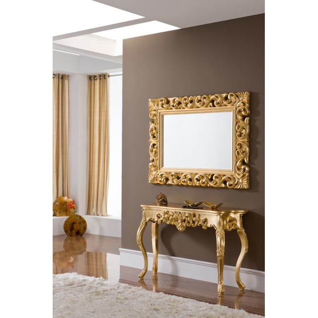 Kasalinea Miroir mural en gris ou doré laqué design Carla - L 120 x P 90 cm