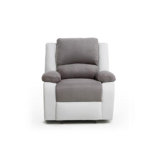 USINESTREET Fauteuil Relaxation 1 place Microfibre / Simili DETENTE - Couleur - Blanc / Gris