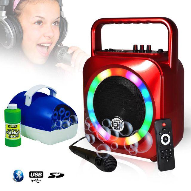 Mydj Enceinte karaoke mobile rouge 200W à Leds multicolors Usb/SD/BT + Mic + Machine à bulle