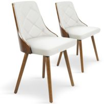 Menzzo Lot de 2 chaises Juno Blanc