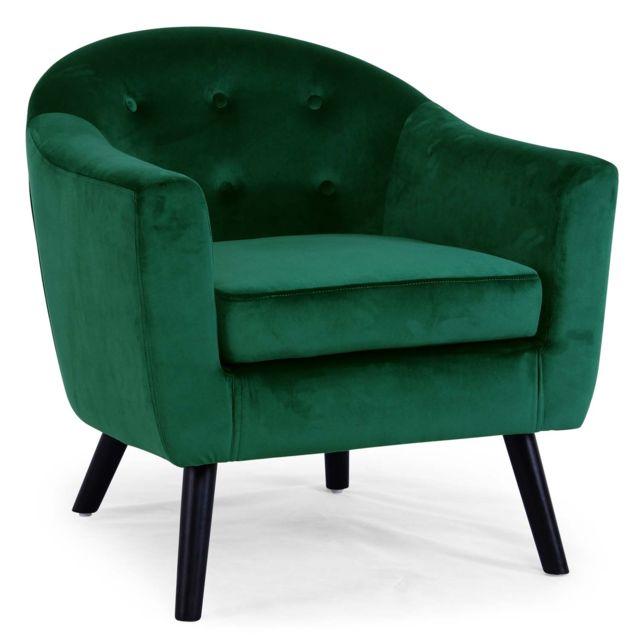 menzzo fauteuil scandinave savoy velours vert pas cher achat vente fauteuils rueducommerce. Black Bedroom Furniture Sets. Home Design Ideas