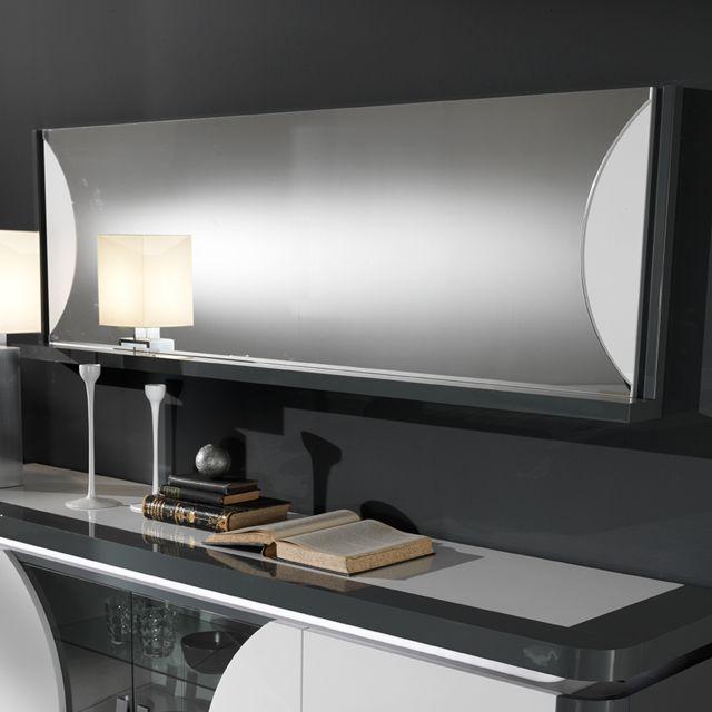 Nouvomeuble Miroir mural laqué gris et blanc Laurene