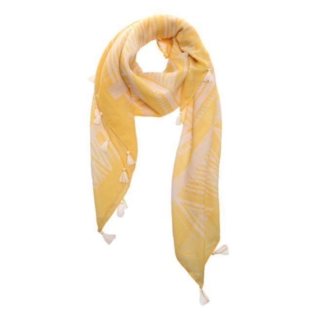 a939110223d9 La Modeuse - Foulard jaune imprimé aztèque et franges - pas cher ...