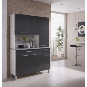 agueda buffet de cuisine m lamin blanc gris pas cher achat vente rueducommerce. Black Bedroom Furniture Sets. Home Design Ideas