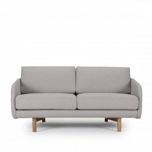 INSIDE 75 Canapé 2 places TREND tissu gris clair piétement chêne clair